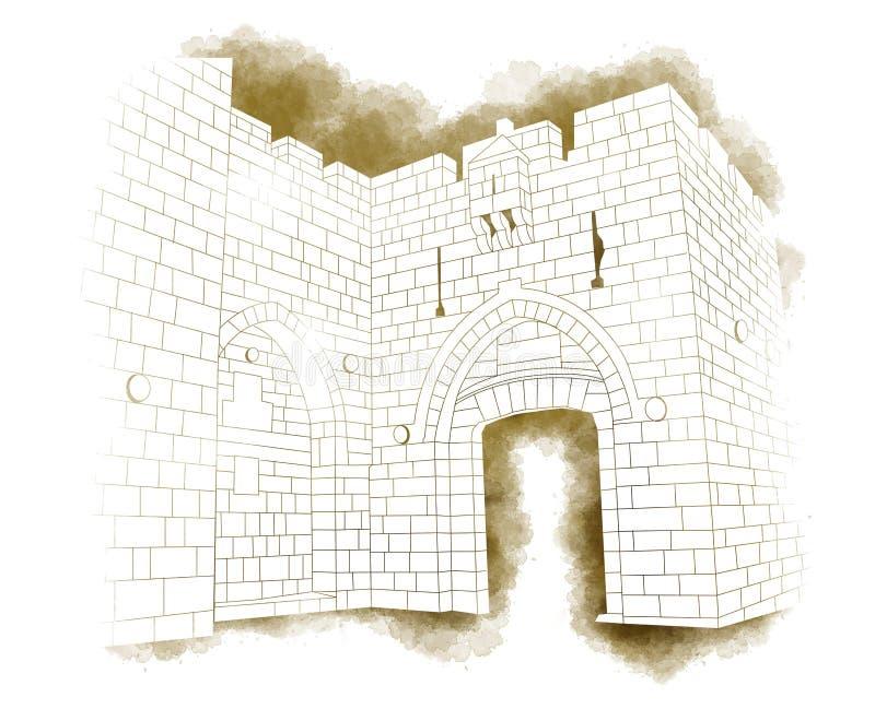 Jaffa bramy wejście, Stary miasto, Jerozolima, Izrael, ręka rysująca ilustracji