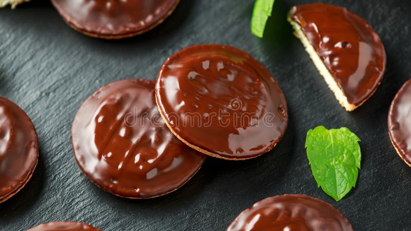 Jaffa cakes sweet cookies with orange and chocolate royalty free stock images