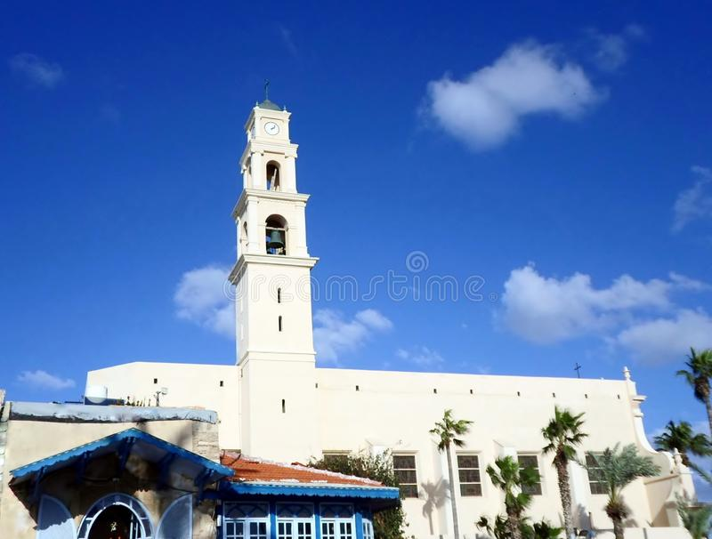 Jaffa Church, Israel. Jaffa Church Tel Aviv Israel. blue sky, tower , history building, Tel Aviv, Israel, Jaffa royalty free stock photos