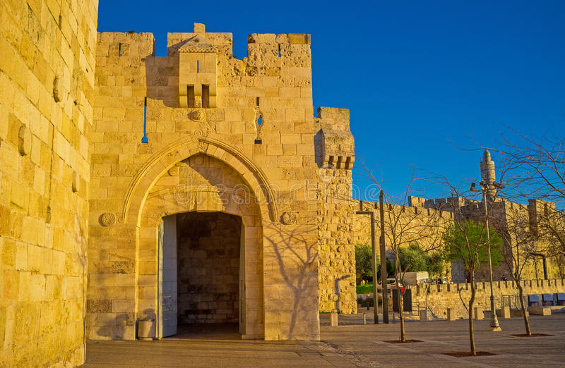 The Jaffa Gate. Is the main tourist entrance to the medieval Jerusalem, Surrounded by high ramparts, Israel royalty free stock photo