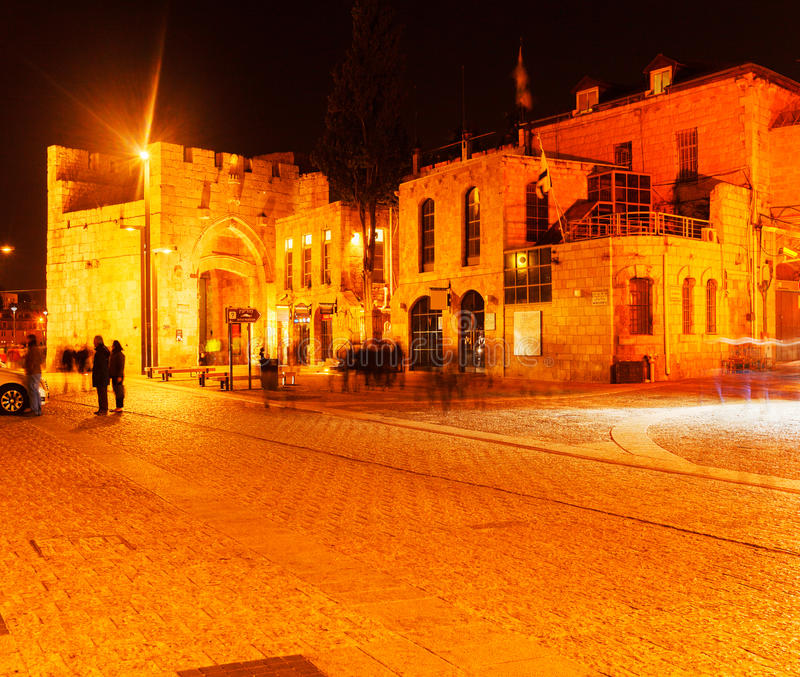 Jaffa Gate at Night, Jerusalem, Israel. Jaffa Gate at Night, Jerusalem Israel stock photo