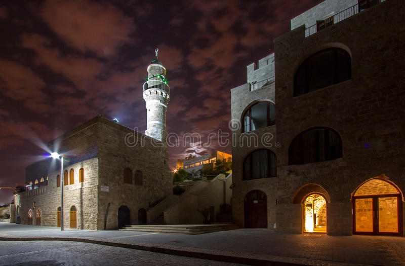 Jaffa, Israel. Old city Jaffa in the night, Israel royalty free stock images