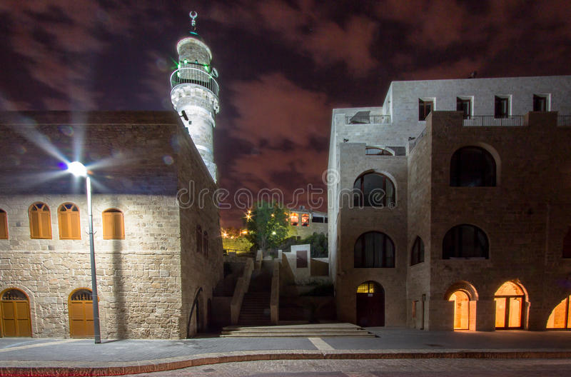 Jaffa, Israel. Old city Jaffa in the night, Israel royalty free stock photo