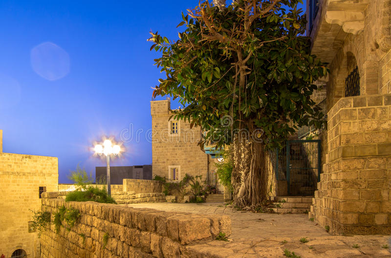 Jaffa, Israel. Old narrow streets of Jaffa in the night, Israel royalty free stock image