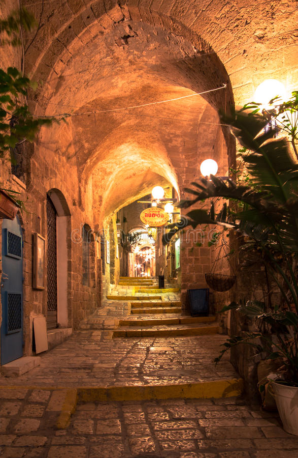 Jaffa, Israel. Old narrow streets of Jaffa in the night, Israel royalty free stock photo