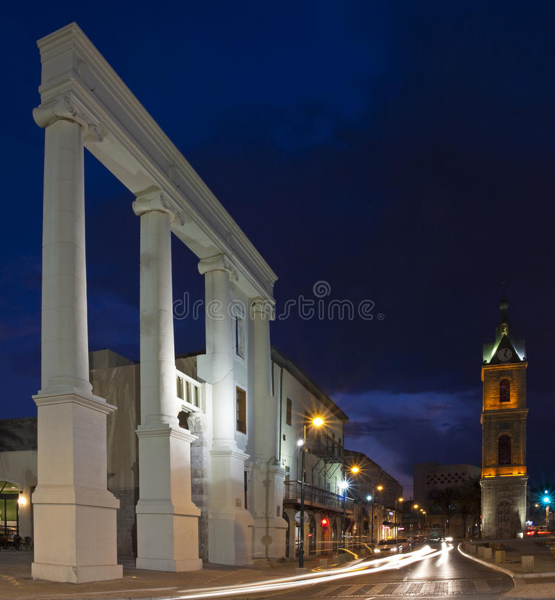 Jaffa at night. The entrance to the city of Jaffa with its clock tower stock photography