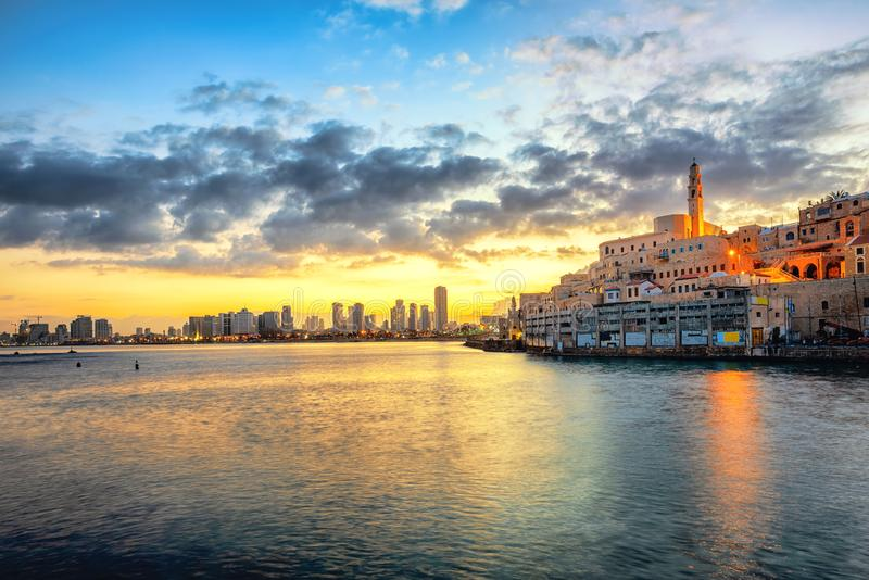 Jaffa Old Town and Tel Aviv skyline on sunrise, Israel. Jaffa Old Town and modern Tel Aviv skyline on dramatic sunrise, Israel royalty free stock photography
