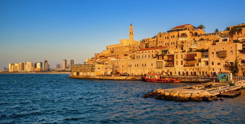 Jaffa Old Town and Tel Aviv skyline, Israel. Jaffa historical Old Town and Tel Aviv city modern skyline, Israel stock images