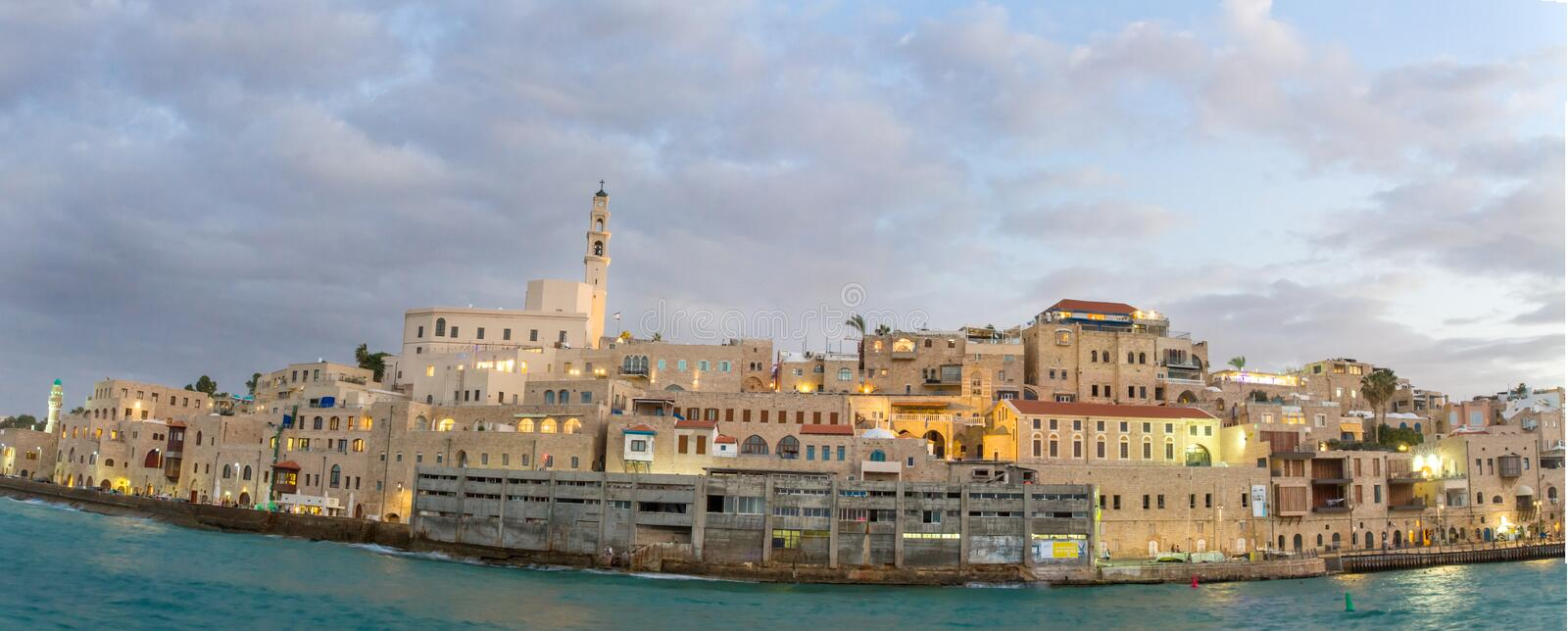 Jaffa port. Beautiful photos of the evening Jaffa from the sea. Israel royalty free stock image