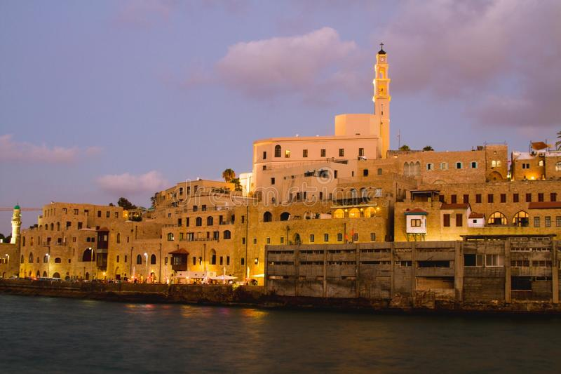 Jaffa port. Beautiful photos of Old Jaffa from the sea in the evening stock images