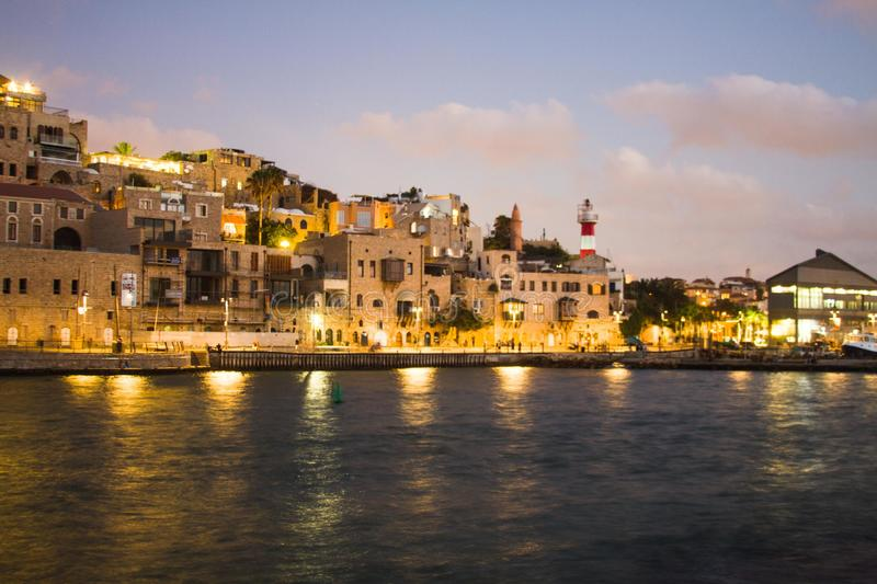 Jaffa port. Beautiful photos of Old Jaffa from the sea in the evening stock photography