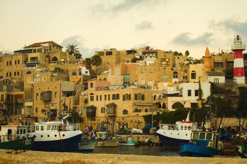 Jaffa port. View of the port of Jaffa from the sea stock photos