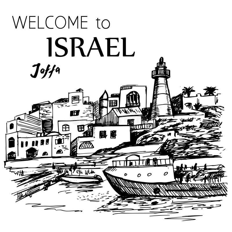 Jaffa stary port z latarnią morską - Izrael royalty ilustracja