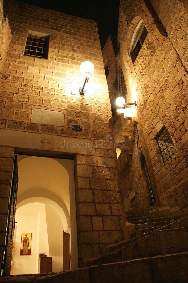 Jaffa velho na noite foto de stock royalty free