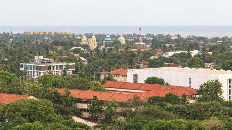 Aerial view of the city of Jaffna - Sri Lanka. Jaffna is the capital city of the Northern Province of Sri Lanka. The 1980s insurgent uprising led to extensive royalty free stock image