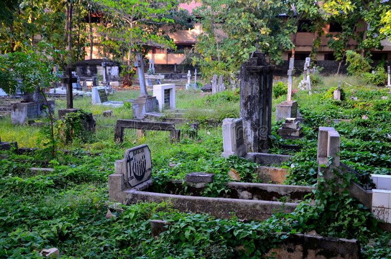 Catholic cemtery graveyard with graves and tombstones in Jaffna Sri Lanka royalty free stock photo