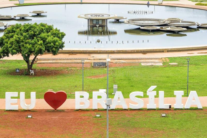 Jag älskar Brasilia undertecknar in Brasilia, huvudstad av Brasilien royaltyfri fotografi