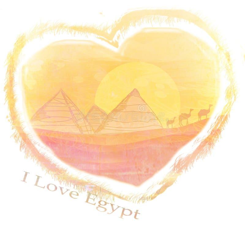 Jag älskar den Egypten designen stock illustrationer