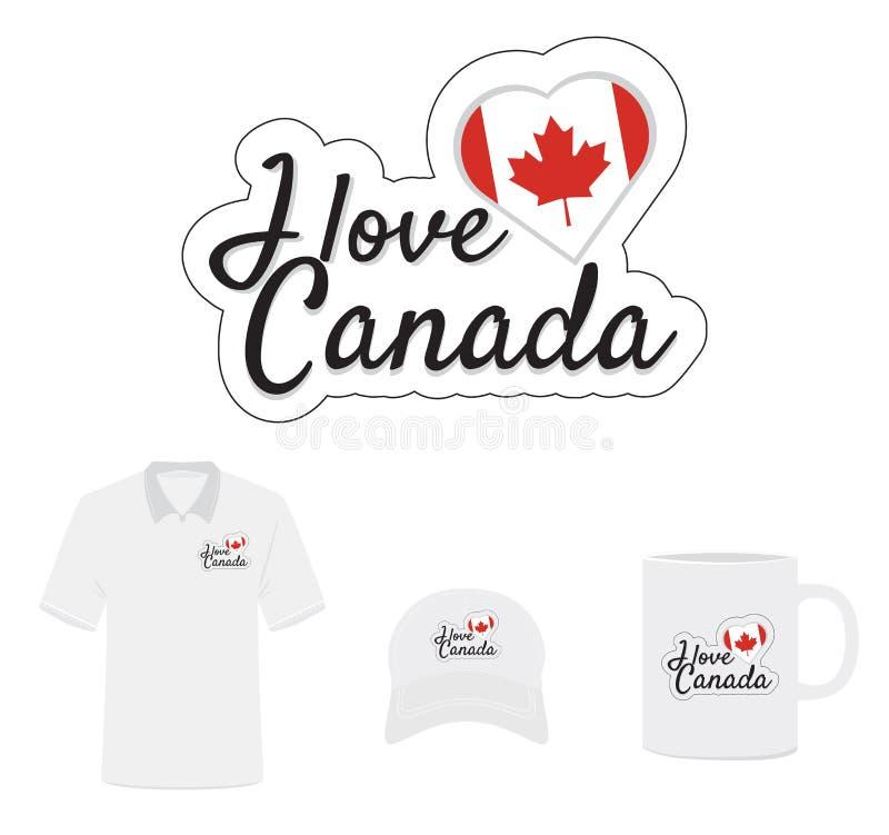 Jag älskar den Kanada logoen, hjärtaflagga stock illustrationer