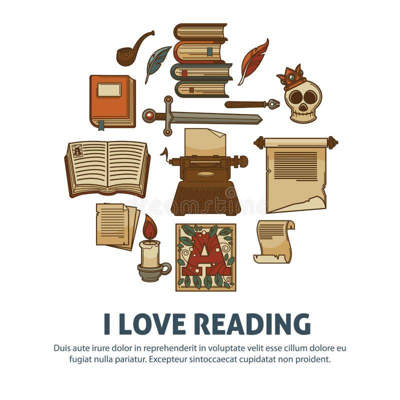 Jag älskar den läs- affischen av litteraturtappningböcker stock illustrationer