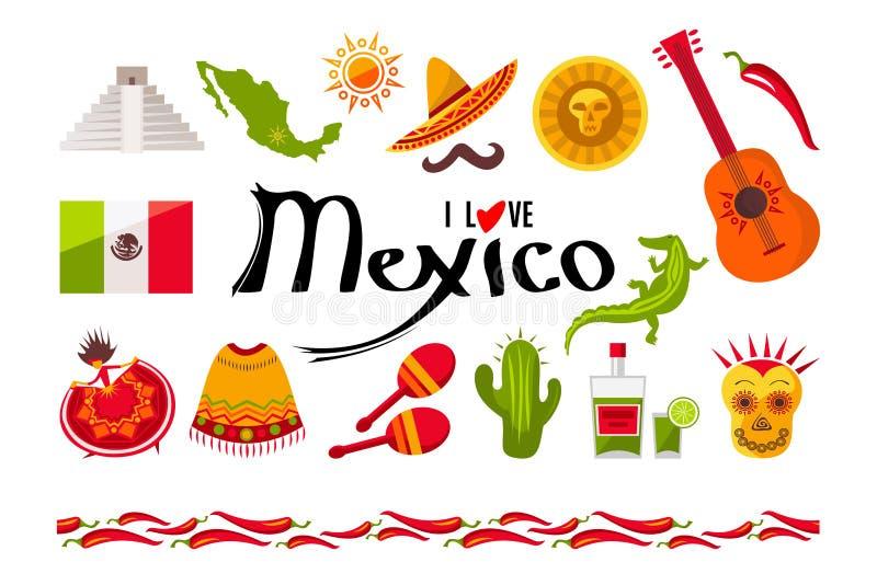Jag älskar den Mexico symbolsuppsättningen vektor illustrationer