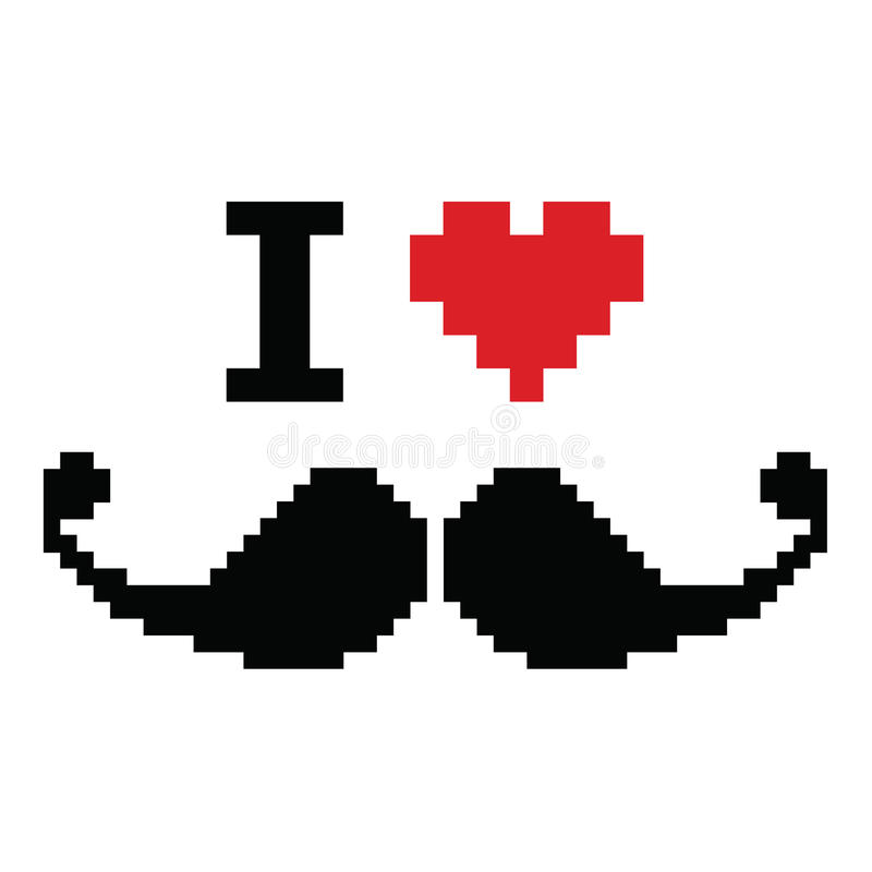 Jag älskar den pixelated mustaschen, retro geeky tecken vektor illustrationer