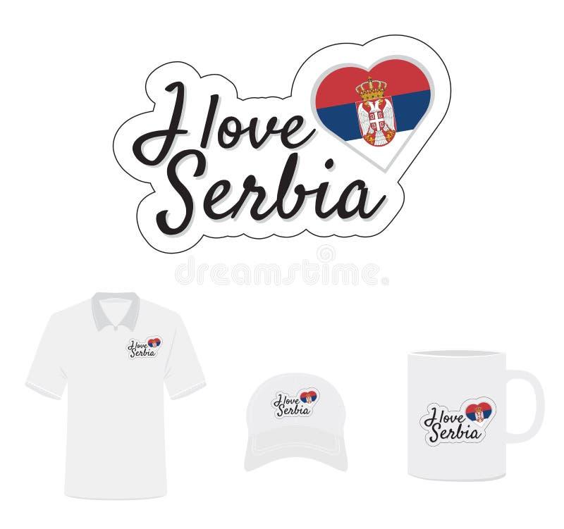 Jag älskar den Serbien logoen, flaggahjärta vektor illustrationer