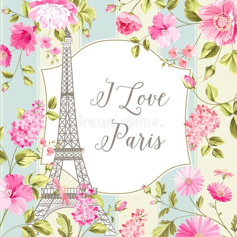 Jag älskar det Paris kortet vektor illustrationer