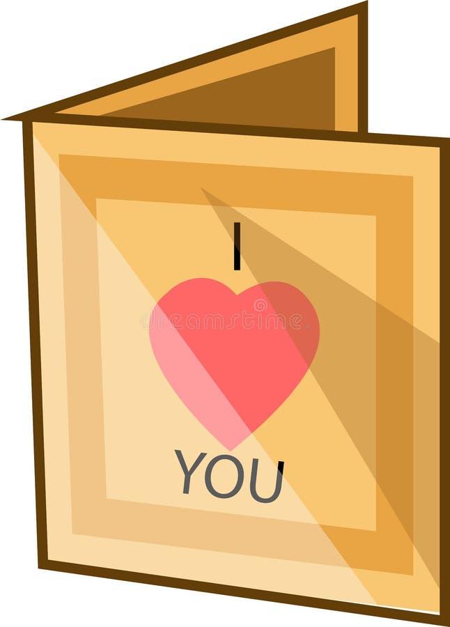 Jag älskar dig, anteckning, illustration, vektor stock illustrationer
