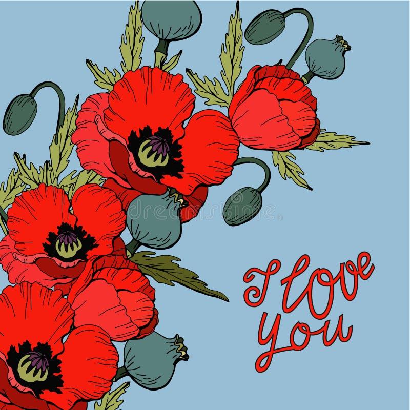 Jag älskar dig, buketten av röda vallmoblommor, handen som drar bokstäver, mallen av kort, vektor vektor illustrationer