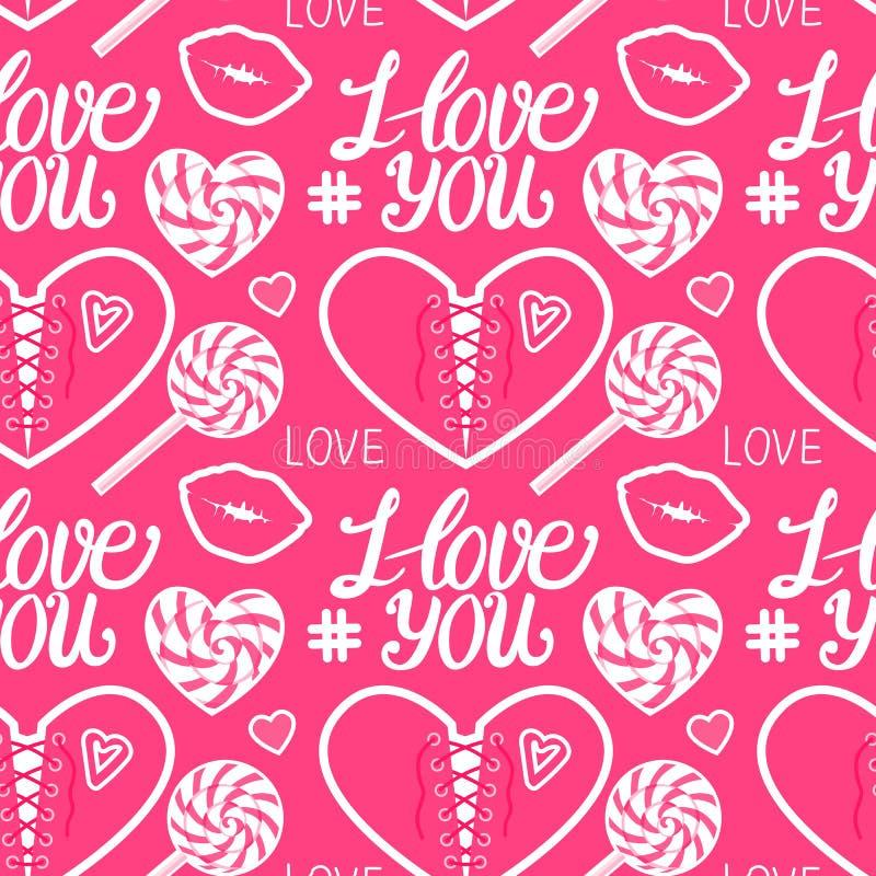Jag älskar dig den söta sömlösa modellen Hj?rtakorsett, karamell, kyss, klubba och m?rkatyp Vektorillustration på gulliga rosa fä vektor illustrationer