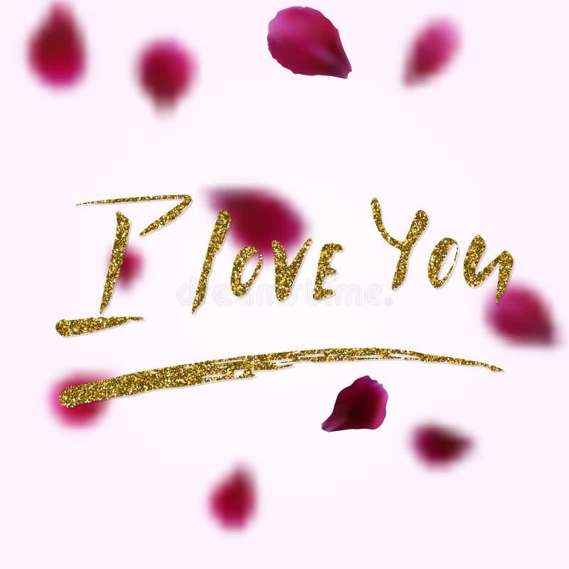 Jag älskar dig - det frihandsinspirerande romantiska citationstecknet royaltyfri illustrationer