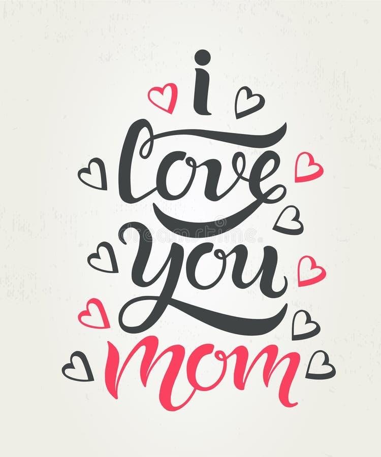 Jag älskar dig det texturerade mammahälsningkortet stock illustrationer
