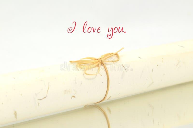 Jag älskar dig - en bokstav för dig arkivfoton
