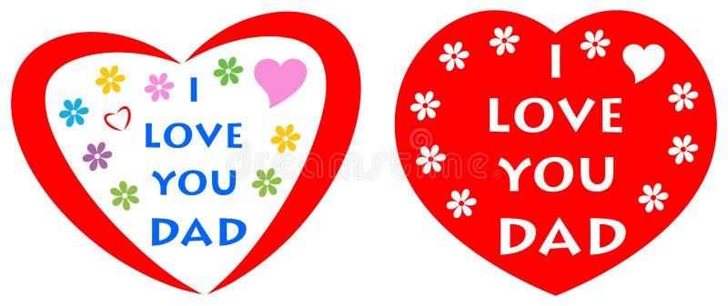 Jag älskar dig farsahälsningkortet med röd hjärta royaltyfri illustrationer