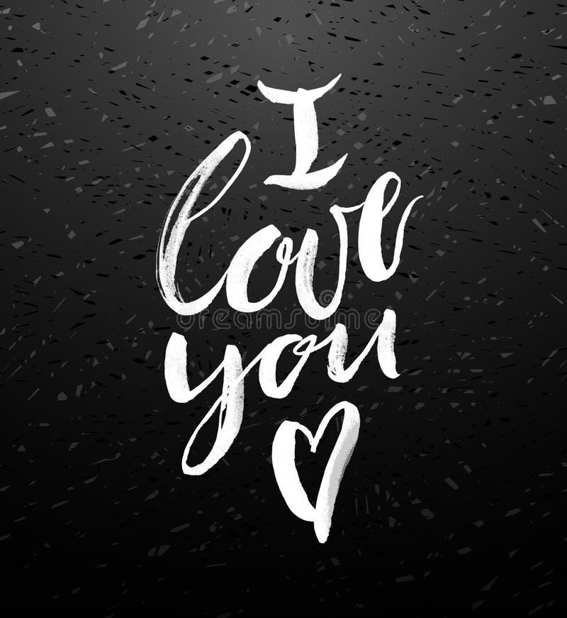 Jag älskar dig hälsningkortet med kalligrafi royaltyfri illustrationer