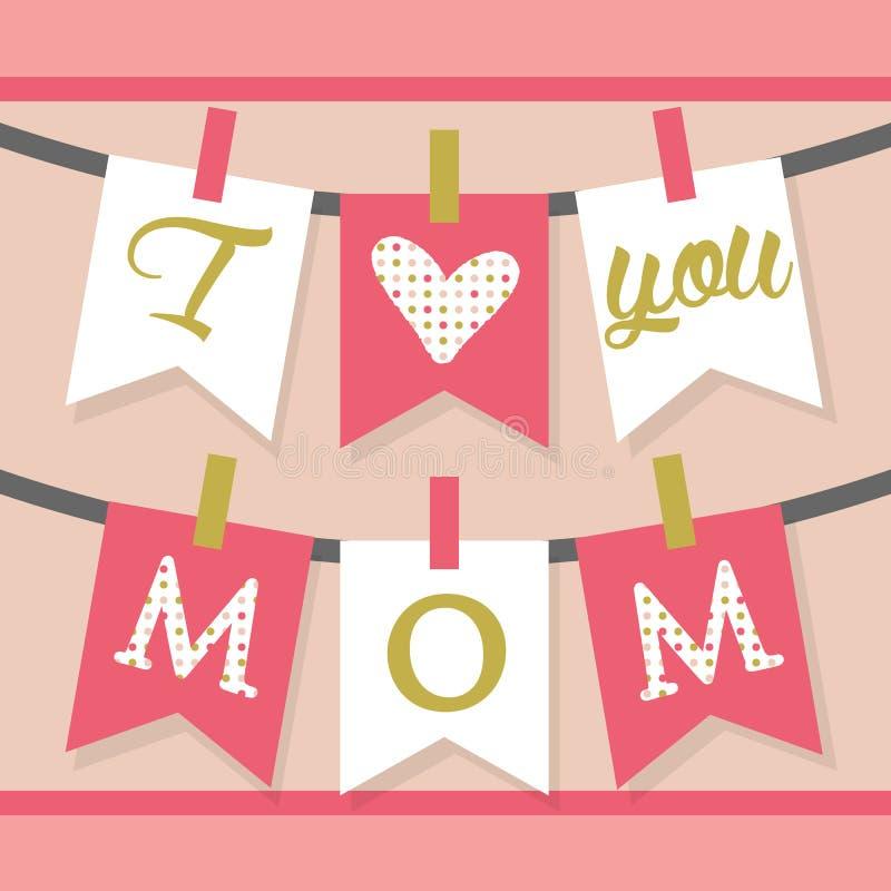 Jag älskar dig hängande banergarnering och buntings för MAMMA i rosa färger stock illustrationer