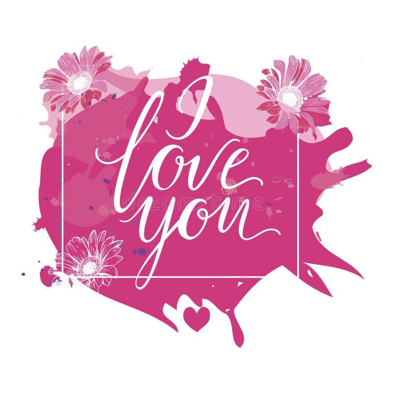 Jag älskar dig handen dragen bokstäver med rosa vattenfärgfärgstänk och blommor också vektor för coreldrawillustration royaltyfri illustrationer