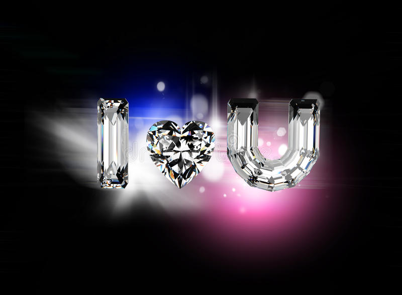 jag älskar dig Hjärta formar gemstonen royaltyfri illustrationer