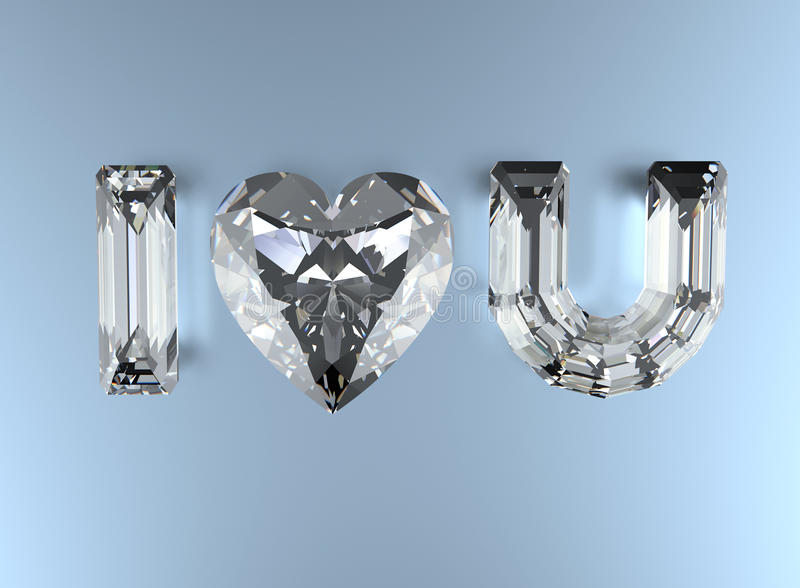 jag älskar dig Hjärta formar gemstonen royaltyfria bilder