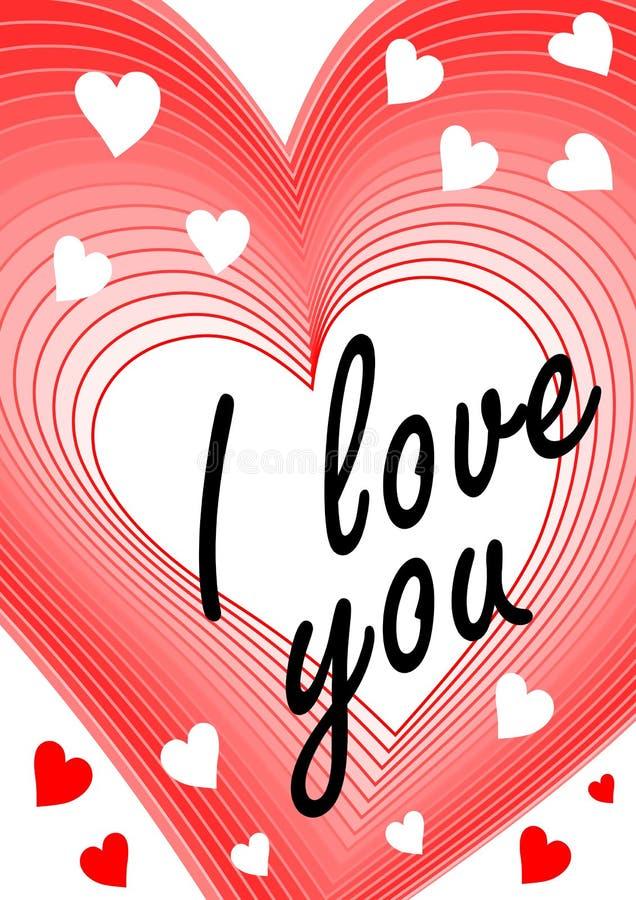 Jag älskar dig inskriften i hjärta som blandar form Förklaring av förälskelse som hälsar den älskade flickan, modernt valentindag stock illustrationer