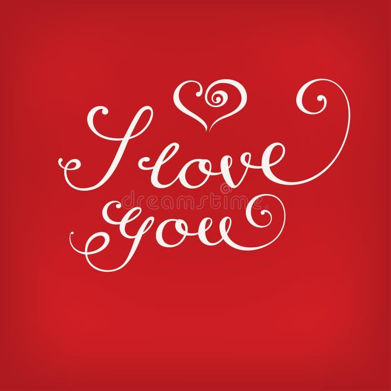 Jag älskar dig kalligrafi på rött royaltyfri illustrationer