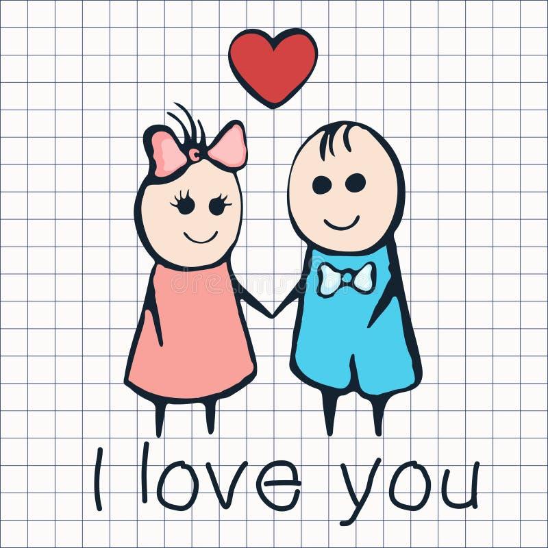 Jag älskar dig, kortet för dagen Februari 14th för valentin` s Tecknad filmvänner pojke och flicka med hjärta royaltyfri illustrationer