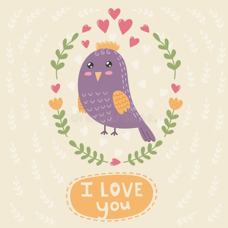Jag älskar dig kortet med en gullig fågel vektor illustrationer