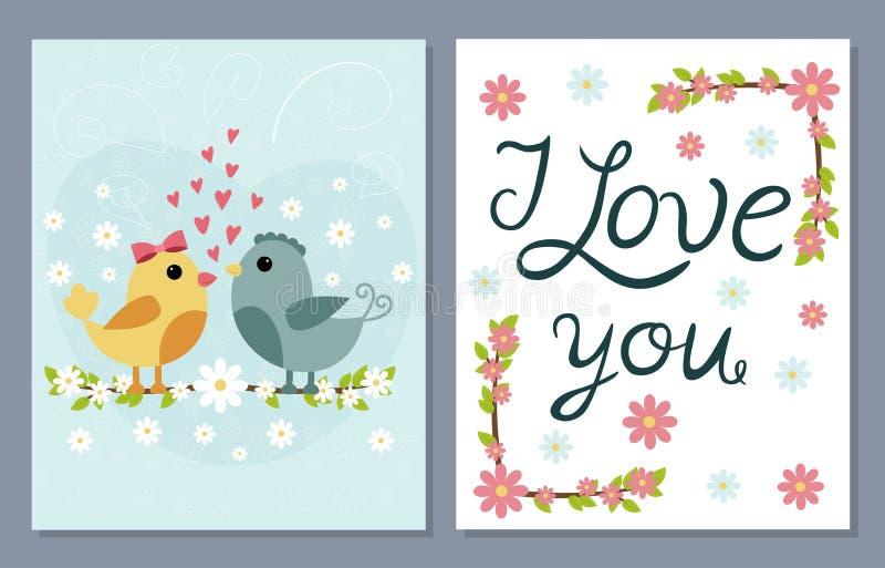 Jag älskar dig kortuppsättningen med gulliga fåglar och blommor royaltyfri illustrationer
