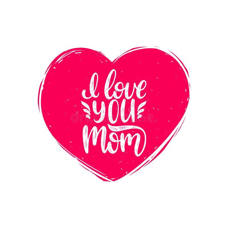 Jag älskar dig mammavektorkalligrafi Lycklig illustration för bokstäver för hand för moderdag i hjärtaform för hälsningkortet etc royaltyfri illustrationer