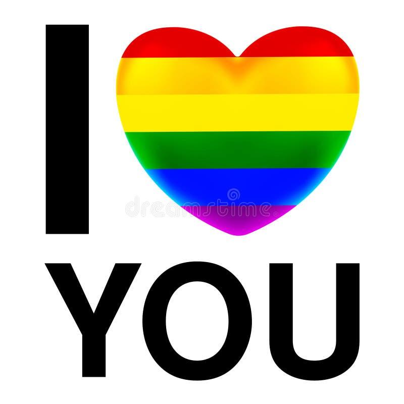 Jag älskar dig med LGBT-flaggahjärta royaltyfri illustrationer