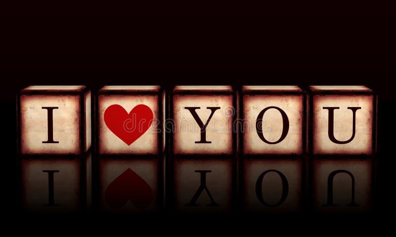 Jag älskar dig med röd hjärta i träkuber 3d stock illustrationer