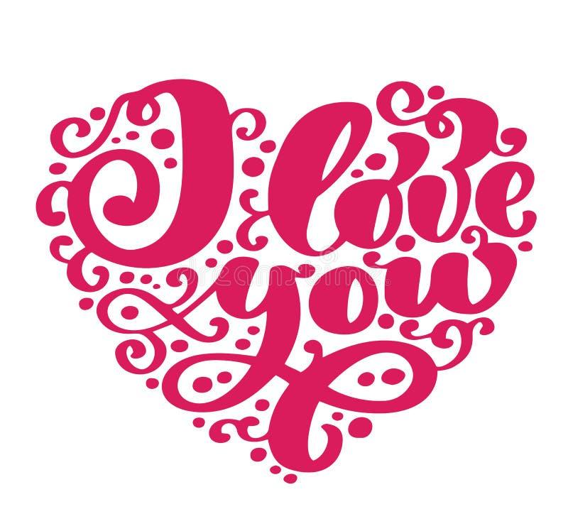 jag älskar dig Mig hjärta dig Kort för valentindaghälsning med kalligrafibröllop Hand drog designtappningbeståndsdelar vektor illustrationer