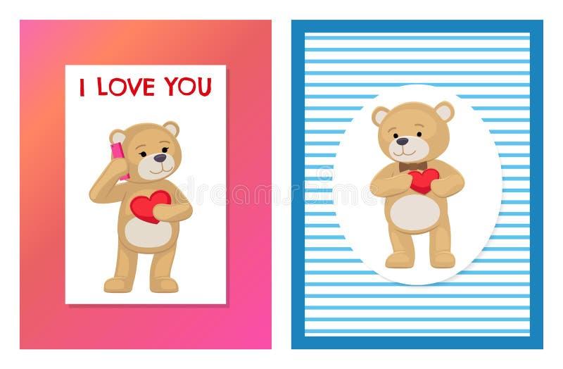 Jag älskar dig och mig Teddy Bears Vector stock illustrationer